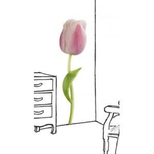 Sticker Tulipe Rose géante collé au mur