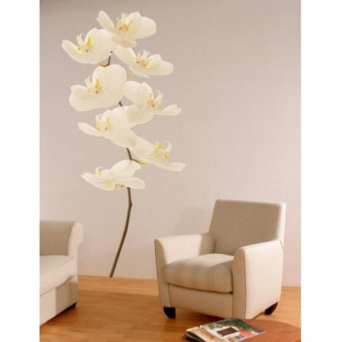 Décoration de salon avec sticker fleur géante orchidée blanche