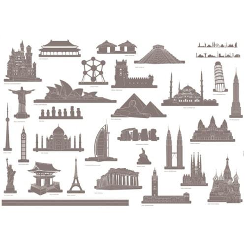 Planche d'adhésif déco voyage et aventure avec 30 stickers de monuments du monde.
