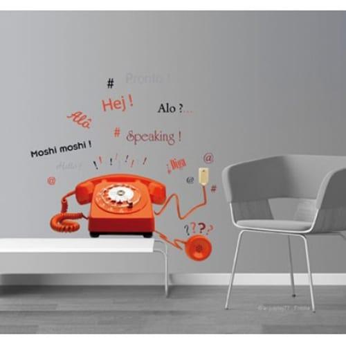 Sticker téléphone vintage pour déco salon sur fond gris