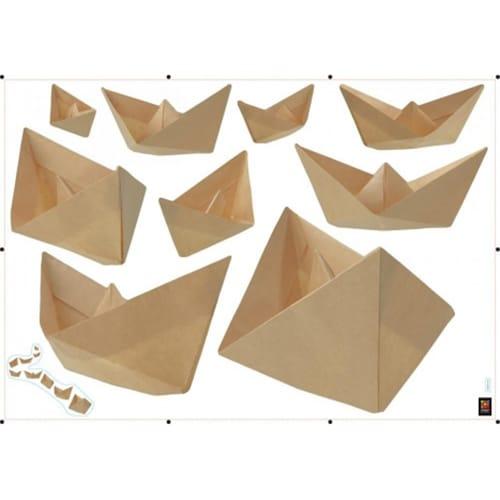 Sticker bateau en origami pour déco de la maison