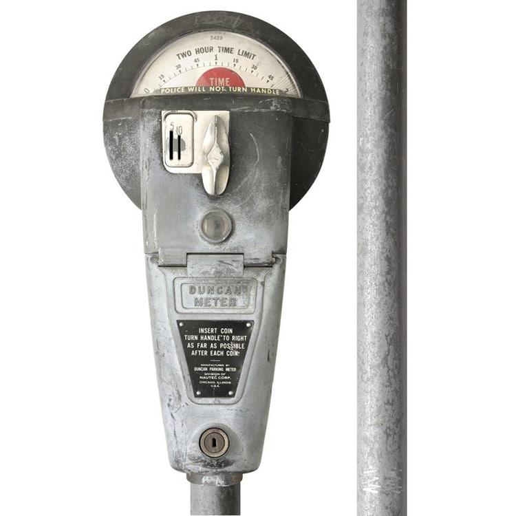 Sticker adhésif parcmètre américain style vintage