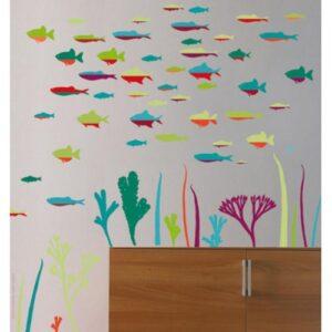Stickers muraux poissons Abysse Colorée