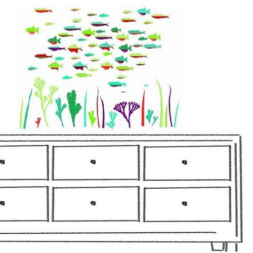 Sticker adhésif poissons Abysse Colorée
