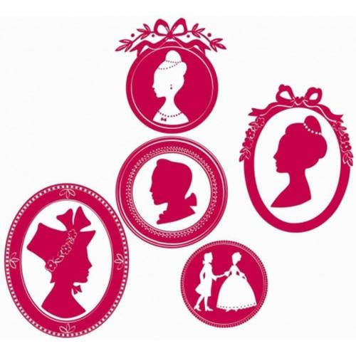Sticker mural portraits royaux roses pour filles