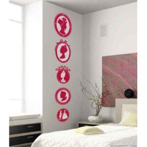 Stickers muraux frises princesses et princes roses