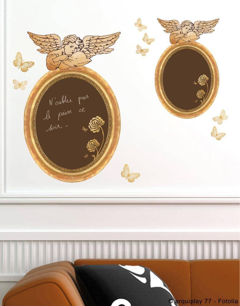 Sticker autocollant cadre anges baroques tableau noir