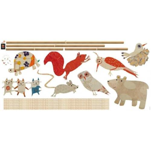 Sticker mural autocollant Animaux de la foret marionnette