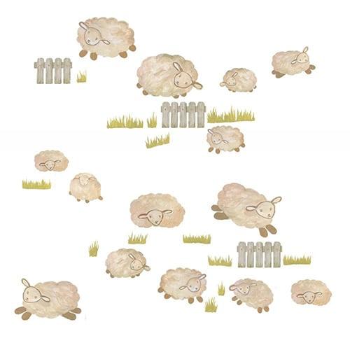 Sticker mural saute moutons blancs et prairies pour enfants