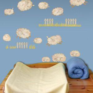 Stickers muraux moutons et prairies pour chambre d'enfants