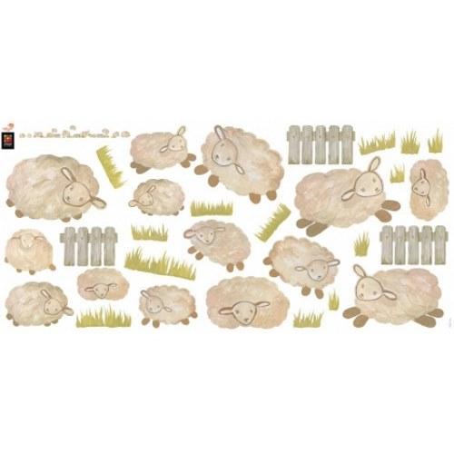 Stickers muraux pour enfants moutons blancs et herbe - déco saute moutons pour chambre d'enfant.