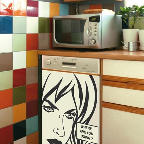 Stickers décoration pour lave-vaisselle bande dessinée.