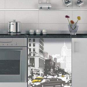 Sticker autocollant lave-vaisselle new york noir et blanc