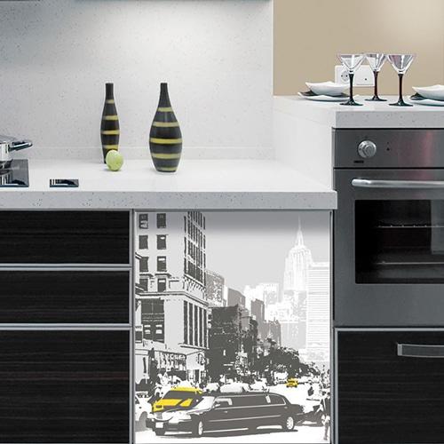 Stickers lave-vaisselle New-York décoration de cuisine