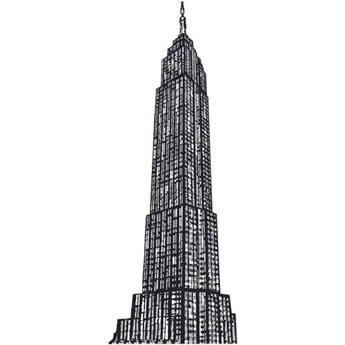 sticker dessin de gratte-ciel en noir et blanc