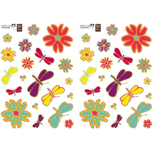 Sticker autocollants Libellules et Fleurs pop