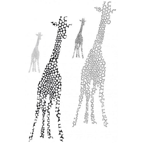 Sticker giraffe géant noir et blanc