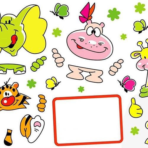 Stickers Animaux ardoise à feutres pour enfants.