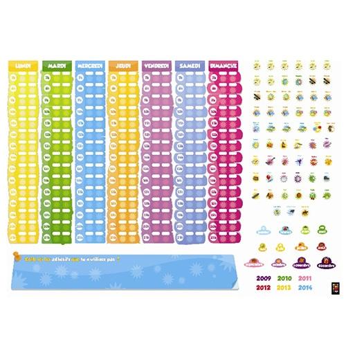 Adhésif calendrier organiseur pour enfant de 6-8 ans