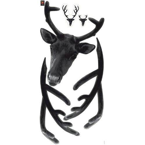 Sticker adhésif trophée tête de cerf noir