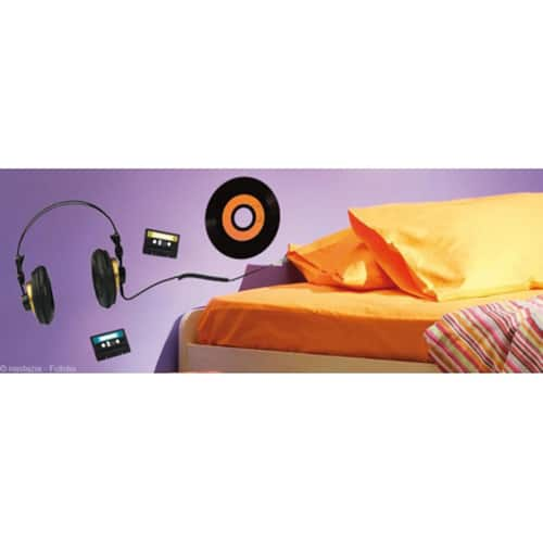 Stickers muraux Casques audio et vinyle