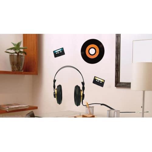 Stickers adhésifs casque audio et vinyle