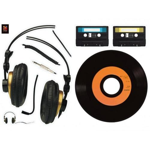 Stickers Muraux Casque audio vinyle et cassettes