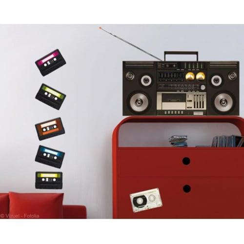 Sticker magnéto cassettes pour déco salon