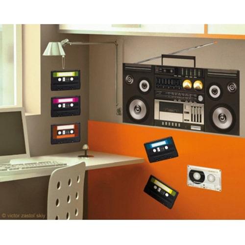 Sticker magnéto cassettes pour déco bureau