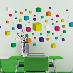 Stickers adhésifs cube 3D collés au mur
