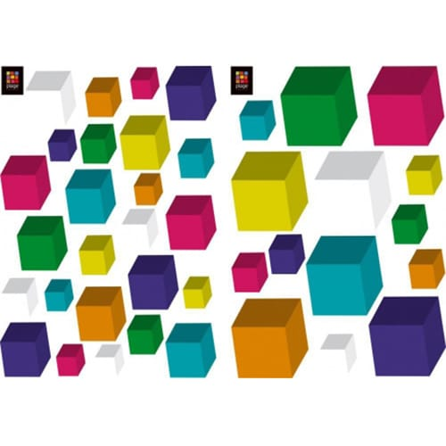 Stickers Cubes 3D de couleurs variées