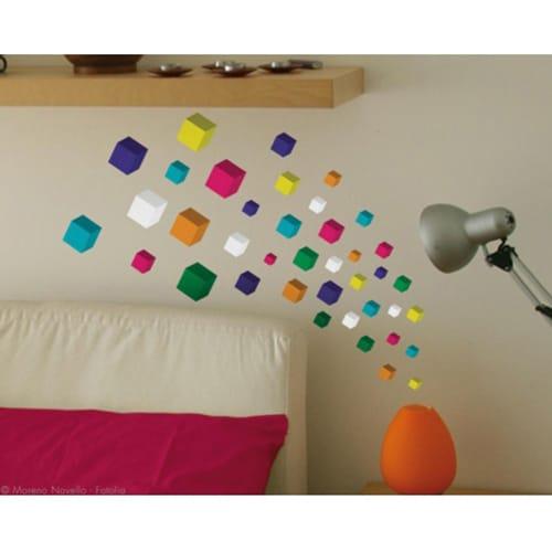 Adhésifs muraux cube 3D