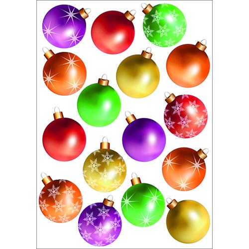 sticker adhésif Boules de Noël de couleurs