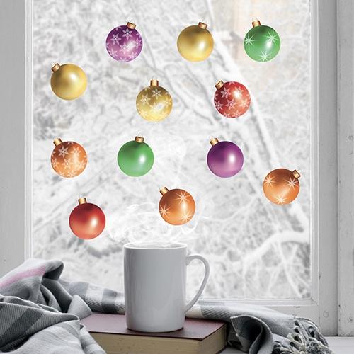 sticker Boules de Noël de couleurs sur une vitre