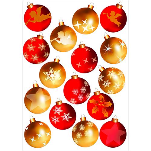 sticker adhésif Boules de Noël Rouge et Or à coller
