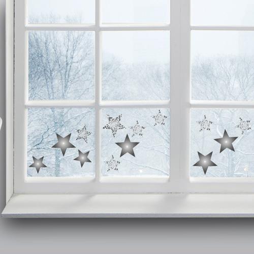 sticker Etoiles Argent déco sur une vitre