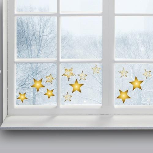 sticker Etoiles Or sur une vitre