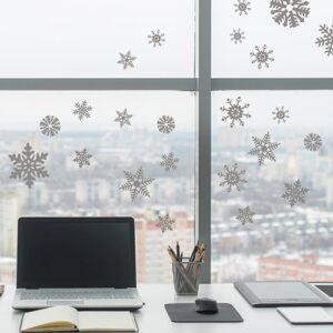 Flocons électrostatiques Argent sur une vitre d'un bureau