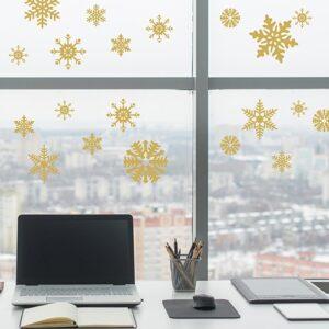 stickers Flocons électrostatiques Or sur une vitre