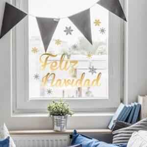 sticker autocollant Feliz Navidad sur une vitre