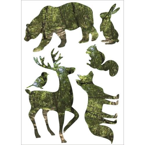 kit déco électrostatiques animaux de la foret : cerf renard, écureuils, oiseaux, ours, lapin
