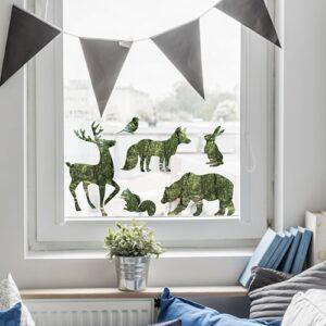 stickers déco forêt, déco électrostatiques pour vitres Animaux vert sur une vitre
