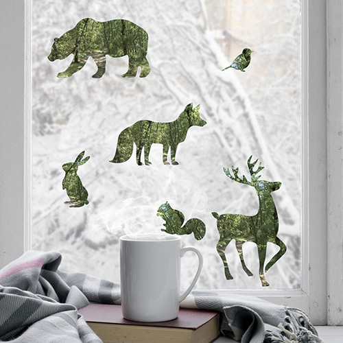 Déco électrostatiques Animaux de la forêt vert sur une vitre avec un lapin, un renard, un cerf et un ours