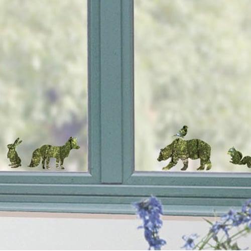 sticker déco électrostatiques Animaux de la forêt vert sur une vitre