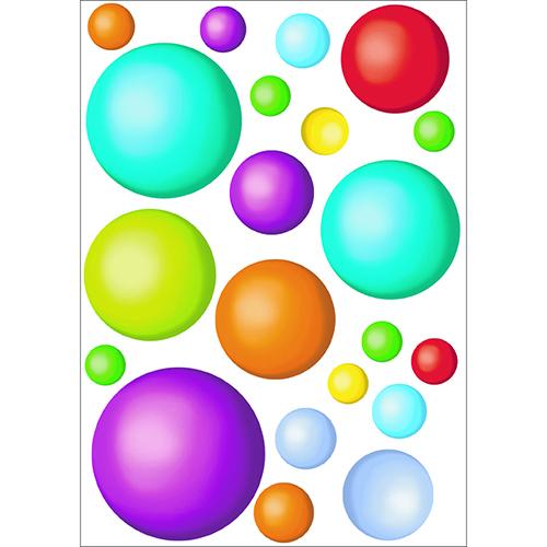 Décorations électrostatiques pour vitres et miroirs balles colorées