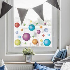 sticker déco électrostatiques Balles colorées sur une vitre