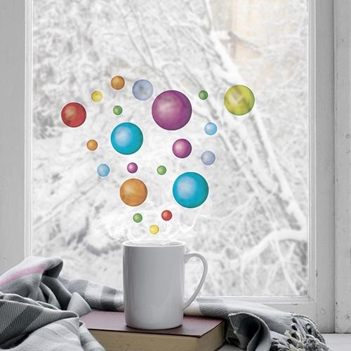 Balles colorées déco électrostatiques pour vitres et surfaces vitrées.