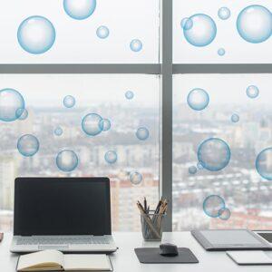 Sticker Bulles de savon sur une vitre dans un bureau