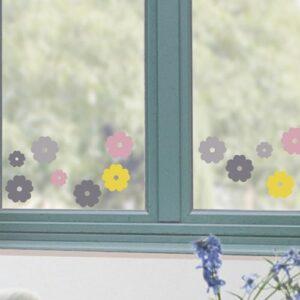 stickers électrostatiques Fleurs colorées à coller sur vitres et fenêtres