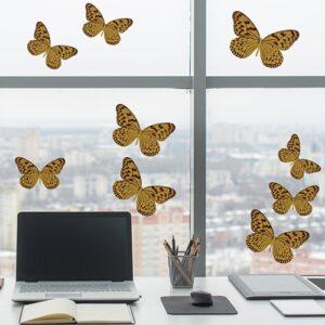 Stickers électrostatiques pour vitres et fenêtres Papillons jaunes pour décoration surfaces vitrées.